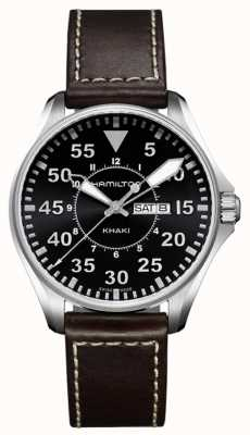 Hamilton Mens Khaki Aviation Pilot Quartz Leather Ex- Display H64611535EX-DISPLAY