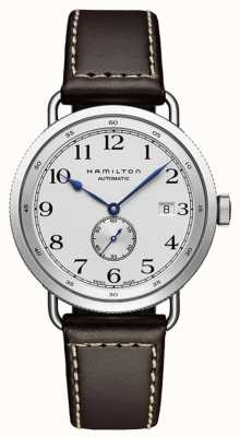 Hamilton Mens Khaki Navy Pioneer Small Second Leather H78465553