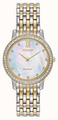 Citizen Womans Eco-Drive Silhouette Crystal | Two-Tone Gold/Silver | EX1484-57D