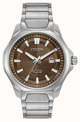 Citizen Mens Eco-Drive Super Titanium Brown dial watch AW1540-88X