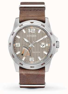 Citizen Mens Eco-Drive Power Reserve Brown AW7039-01H