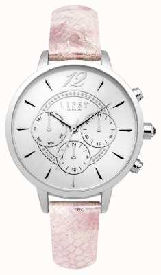 Lipsy Womans Silver Chrono Pink Leather Strap LP506