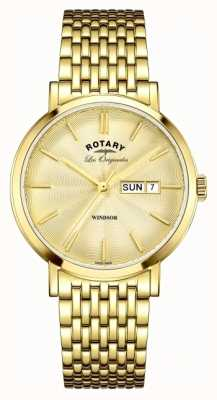 Rotary Mens Windsor Gold Plated Strap GB90156/03