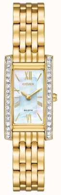 Citizen Ladies Citizen Silhouette Crystal Eco-Drive Gold PVD Plated EX1472-81D