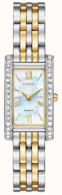 Citizen Ladies Citizen Silhouette Crystal Eco-Drive Two Tone EX1474-85D
