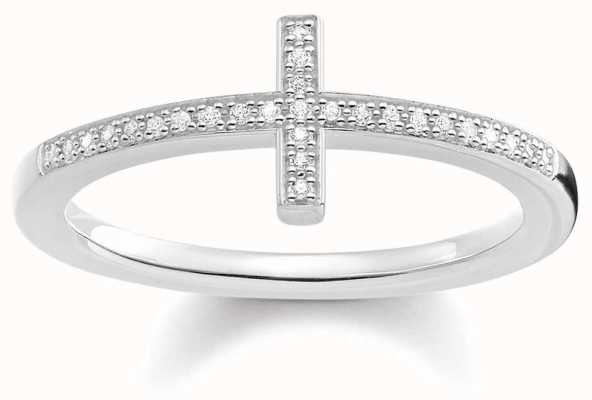 Thomas Sabo Womans Sterling Silver Diamond Cross Ring D_TR0028-725-14-54