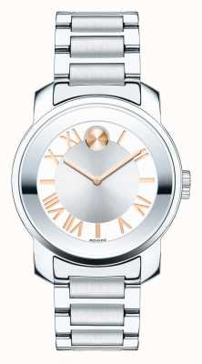 Movado bold Midsize Luxe Two Tone Silver Rose GoldK1 Crystal 3600244