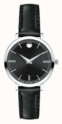 Movado Women's Ultra Slim black leather strap 0607094