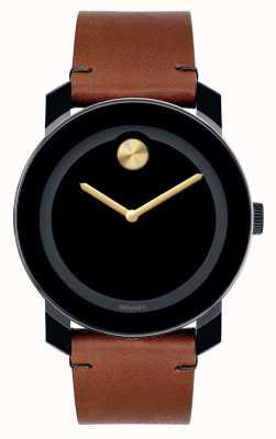 Movado bold Large Black TR90 Composite Black Dial Gold Hands 3600305