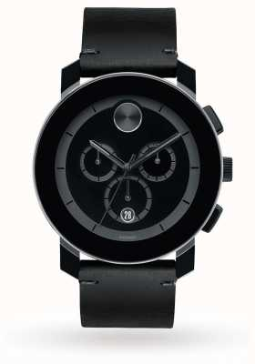 Movado Bold Chronograph Black Dial Black Leather Band Men's Quartz 3600337
