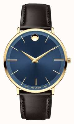 Movado Men's Ultra Slim Yellow Gold PVD-finished Blue Dial 0607088
