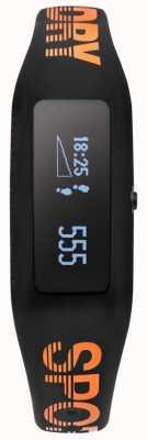 Superdry Unisex Fitness Tracker Black Orange Silicone Strap SYG202BO