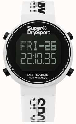 Superdry Unisex Digi Pedometer White Silicone Strap SYG203W