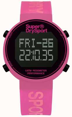 Superdry Unisex Digi Pedometer Pink Silicone Strap SYL203P