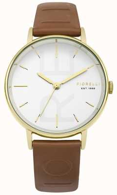 Fiorelli Womans Tan Embossed Strap White Dial FO036TG