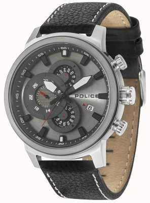 Police Mens Explorer Multi-function Black Leather Silver Dial 15037JSTU/04