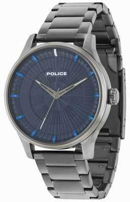 Police Mens Jet 3 Hands Blue Dial IP Black 15038JSU/03M