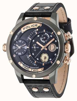 Police Mens Adder Multi-function Date Dark Blue Dial Leather Strap 14536JSU/03