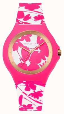 Daisy Dixon Womans Pink White Floral Silicone Strap DD040WP