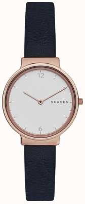 Skagen Womans Ancher Navy Leather Strap White Dial SKW2608