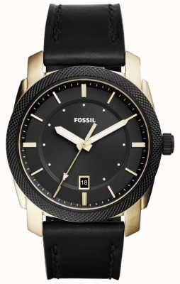 Fossil Mens Machine Gold Tone Black Leather FS5263