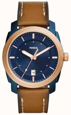 Fossil Mens Machine Blue Tone Brown Leather FS5266
