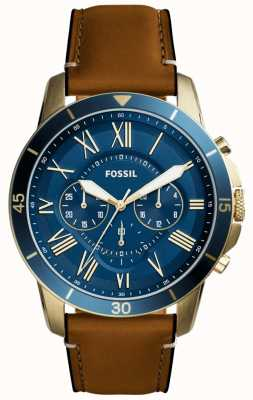 Fossil Mens Grant Tan Leather Strap Blue Chronograph FS5268