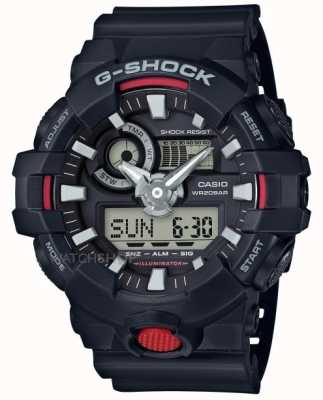 Casio Mens G-Shock Alarm Chronograph Black GA-700-1AER