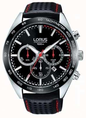 Lorus Mens Black Leather Chronograph RT307GX9