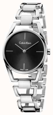 Calvin Klein Womans Dainty Steel Black Dial K7L23141