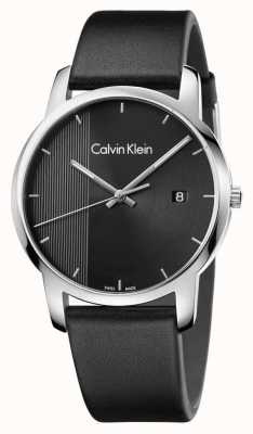 Calvin Klein Mens City Black Leather Black Dial K2G2G1C1