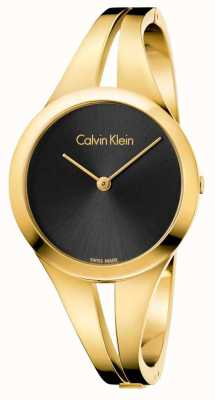 Calvin Klein Womans Addict Gold Toned Bangle Black Dial K7W2S511
