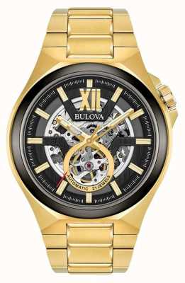 Bulova Mens Automatic Gold Pvd Plated 98A178