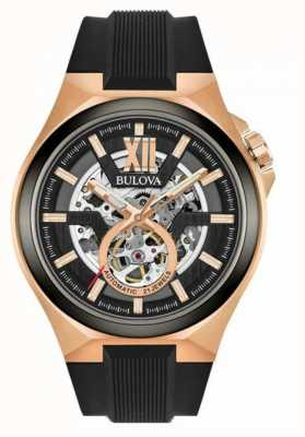 Bulova Mens Automatic Gold Pvd Plated Black Rubber Strap 98A177