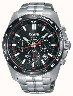Pulsar Mens Solar Stainless Steel Black Dial Chrono PZ5005X1