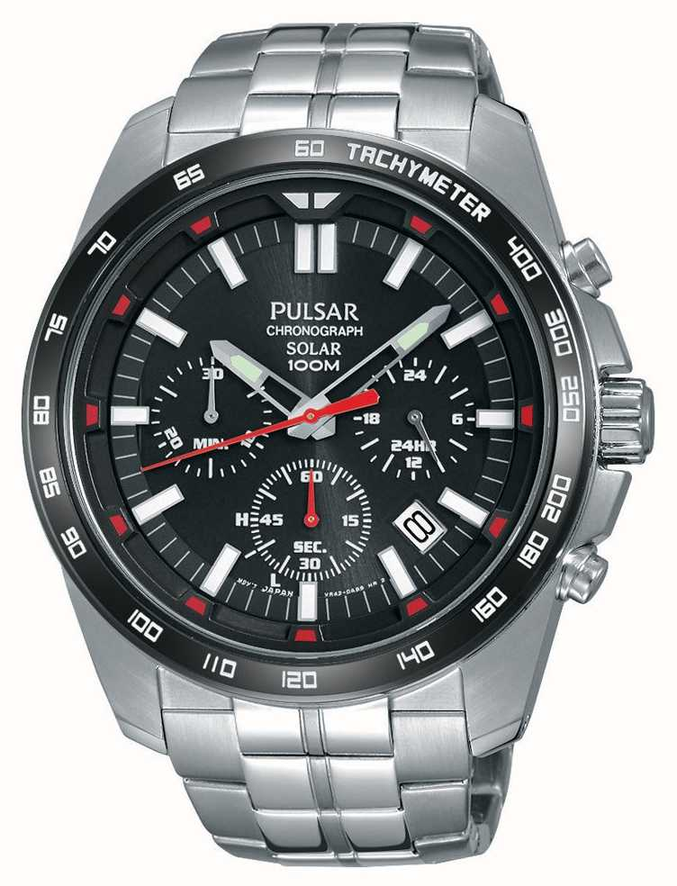 Pulsar Mens Solar Stainless Steel Black Dial Chrono Pz5005x1 First