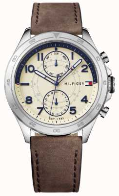 Tommy Hilfiger Mens Cream Dial Leather Strap 1791344