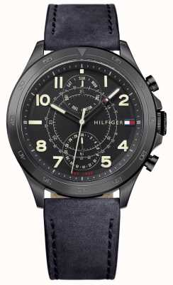 Tommy Hilfiger Mens Black Dial Black Leather Strap 1791345