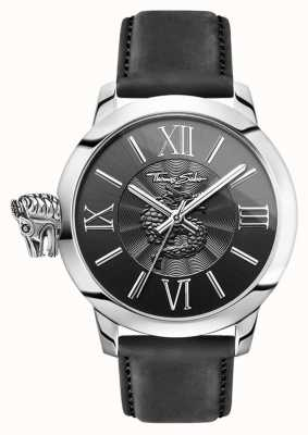 Thomas Sabo Men's Rebel With Karma Stainless Steel Black Leather WA0295-218-203