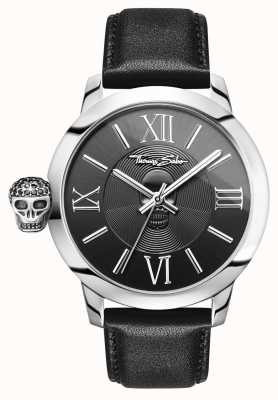 Thomas Sabo Mens Rebel With Karma Stainless Steel Black Leather WA0297-218-203-46