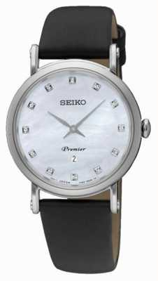 Seiko Womans Dame Stainless Steel Date Black Leather Strap SXB433P2