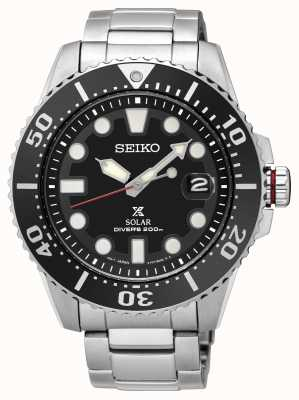 Seiko | Prospex | Solar | Diver's | Metal Bracelet | Black Dial | SNE437P1