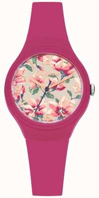 Cath Kidston Womans Pink Silicone Strap Floral Printed Dial CKL029P