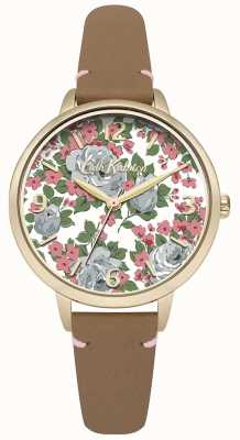 Cath Kidston Womans Tan Leather Strap Floral Printed Dial CKL001TG