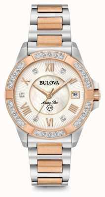Bulova Womans Marine Star Diamond Two Tone Watch 98R234