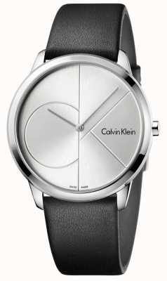 Calvin Klein Mens Minimal Black Leather Silver Watch K3M211CY