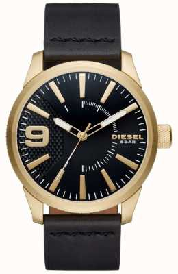 Diesel Mens Rasp Black And Gold Toned Leather DZ1801