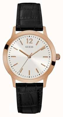 Guess Mens Exchange Black Leather Strap Silver Dial W0922G6