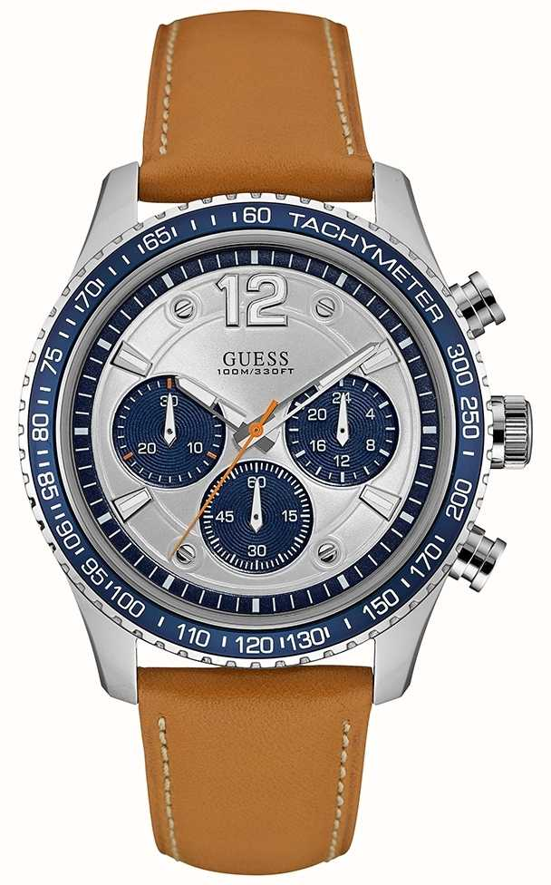 Guess Mens Fleet Chronograph Brown Leather Strap Silver ...