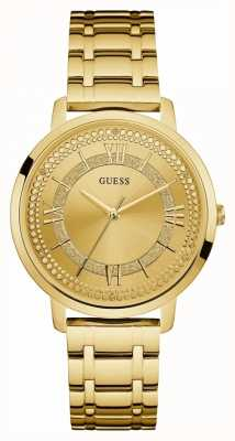 Guess Womens Montauk Gold Plated Bracelet Gold Dial W0933L2